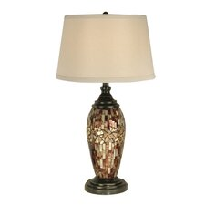 "Mosaic Oval Art Glass 30"" H Table Lamp with Empire Shade"