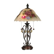 """Hand Painted Crystal Leaves 23.5"""" H Table Lamp with Bowl Shade"""