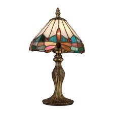 "Tiffany Jewel Dragonfly 13.5"" H Table Lamp with Empire Shade"