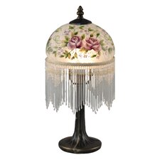 """Rose Beaded 14.5"""" H Table Lamp with Bowl Shade"""