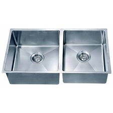 "31.88"" x 17.19"" Under Mount Small Corner Radius Double Bowl Kitchen Sink"
