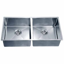 "34.19"" x 17.19"" Under Mount Small Corner Radius Equal Double Bowl Kitchen Sink"