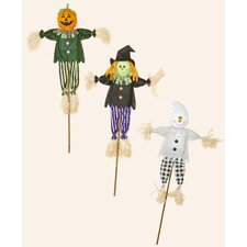 3 Piece Ghost, Pumpkin, Witch on Stick Halloween Decoration Set