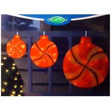 Peppermint Twist Lighted Glitter Sisal Christmas Window Decorations (Set of 3)