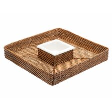 Nito Chip 'n Dip Basket with Ceramic Salsa Dish