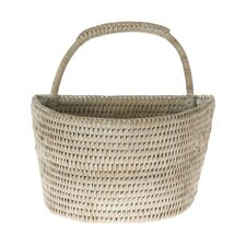 La Jolla Handwoven Rattan Wall Basket, Small, 8.5 X 6.5 X 8.75 Inch, White Wash