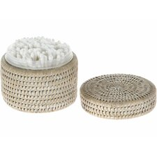 La Jolla Handwoven Round Rattan Container, Insert, Twist-off Lid, Small, White Wash