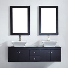 "Ravenna 60"" Floating Double Bathroom Vanity Set with Mirror"