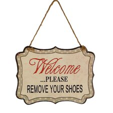 Metal Hanging Sign 'Remove Shoes' Wall Decor