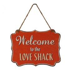 Metal Hanging Sign 'Love Shack' Wall Decor