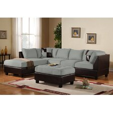 Modern Microfiber and Reversible Sofa Sectional (Set of 5)