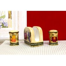 Tuscany Mixed Fruit Napkin Holder, Salt and Pepper Set