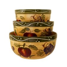 Tuscany Mixed Fruit 3 Piece Mixing Bowl Set