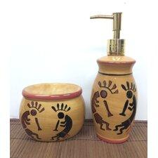 Western Kokopelli Sponge Holder and Soap Dispenser Set