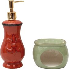 Tuscany Fleur De Lis Soap Dispenser and Sponge Holder Set