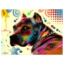 Brown Pitbull Brown Eyes Look2 by Mark Ashkenazi Graphic Art