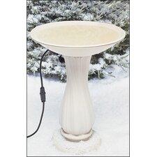 """20"""" Beige Heated Bird Bath on Pedestal"""