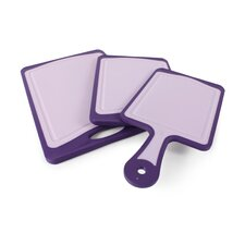3 Piece Deco Cutting Board with Non-Slip Edges and Elysian Purple