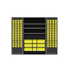 "78""H x 48""W x 24""D Jumbo Bin and Shelf Cabinet"
