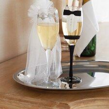 Bride and Groom Stemmed Champagne Glass set
