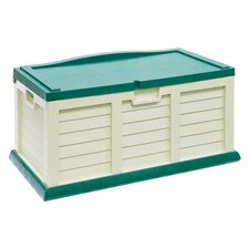 71 Gallon Deck Box with Seat in Beige & Green