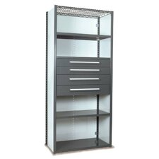 "V-Grip 84"" Shelving with Drawers Unit - 4Drw/5Shelf Closed Starter,  4 drawers - (2) 4.5"" & (2) 6"" H; 200 lb capacity"