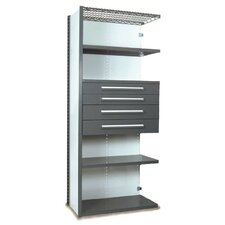 "V-Grip 84"" Shelving with Drawers Unit - 4Drw/5Shelf Closed AddOn, 4 drawers - 3"",4.5"", 6"", 7.5"" H; 400 lb capacity"