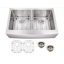 "33"" x 20"" Stainless Steel 18 Gauge Apron Front 50/50 Kitchen Sink"