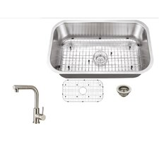 """28"""" x 16"""" Single Bowl Kitchen Sink with Faucet"""