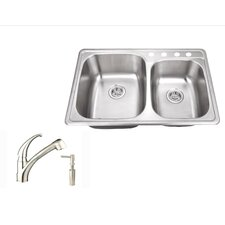 "33"" x 22"" Stainless Steel Drop In Double Bowl Kitchen Sink with Faucet"
