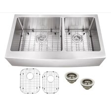 "35.87"" x 21.25"" Stainless Steel 16 Gauge Apron Front 60/40 Double Bowl Kitchen Sink"