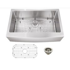 """33"""" x 20"""" Stainless Steel 16 Gauge Apron Front Single Bowl Kitchen Sink"""