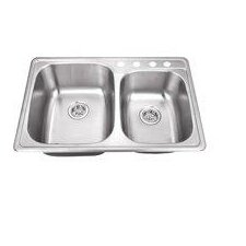 "33"" x 22"" Stainless Steel Drop In Double Bowl Kitchen Sink"