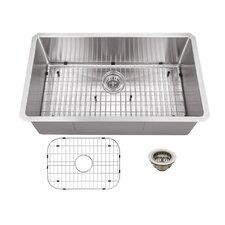 """32"""" x 19"""" Stainless Steel 16 Gauge Radius Single Bowl Kitchen Sink"""