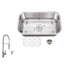 """30"""" x 18"""" Single Bowl Undermount Kitchen Sink with Faucet"""