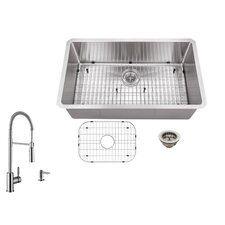 "32"" x 19"" Single Bowl Undermount Stainless Steel Kitchen Sink with Faucet"