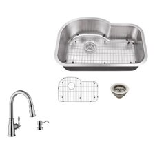 """31.5"""" x 21.13"""" Single Bowl Undermount Kitchen Sink with Faucet"""