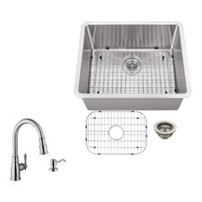"23"" x 19"" Single Bowl Radius Undermount Stainless Steel Bar Sink with Faucet"