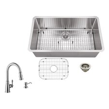 "32"" x 19"" Single Bowl Radius Undermount Stainless Steel Kitchen Sink with Faucet"