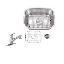 """23.5"""" x 17.75"""" Single Bowl Undermount Stainless Steel Kitchen Sink with Faucet"""