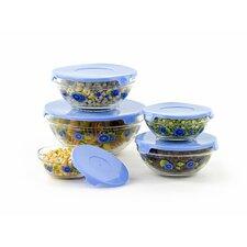 10 Piece Stackable Glass Storage Bowl Set
