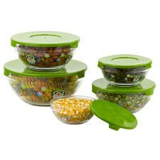 10 Piece Stackable Owl Design Glass Storage Bowl Set