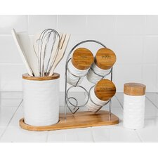 15 Piece Porcelain and Wooden Utensil Set