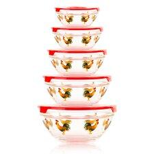10 Piece Stackable Rooster Design Glass Storage Bowl Set