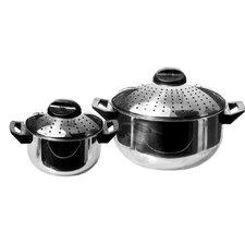 4 Piece Pasta Pots Set - 6Qt and 2Qt Pots