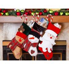 "3 Piece 18"" Cute Santa's 3D Toy Stocking Set"