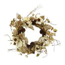 Burlap Hydrangea and Wood Rose Wreath