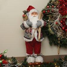 Nordic Skiing Standing Santa Claus Christmas Figure with Burlap Gift Bag