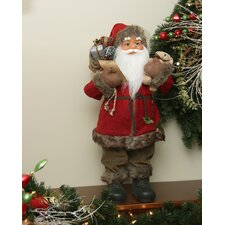 Standing Santa Claus Christmas Figure in Holly Berry Coat with Corduroy Pants