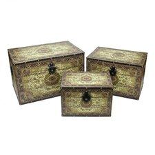 3 Piece Oriental Decorative Wooden Storage Box Set